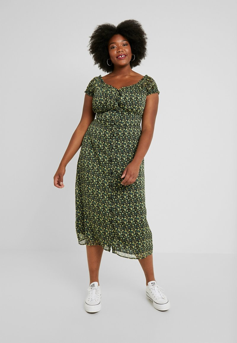 Glamorous Curve - WITH TIES VNECK DRESS - Vestido camisero - black/yellow