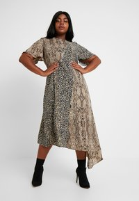 Glamorous Curve - MIX AND MATCH ASYMETRIC ANIMAL MIDI DRESS - Maxi dress - brown - 0