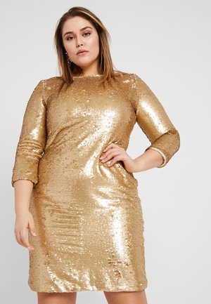 3/4 SEQUIN MINI DRESS - Cocktailklänning - matt gold