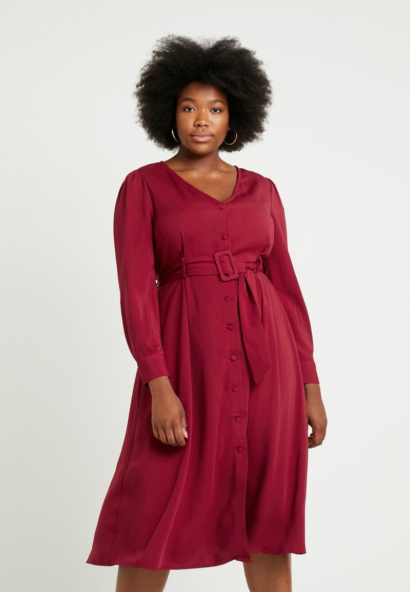 Glamorous Curve - BUTTON FRONT DRESS - Day dress - burgundy