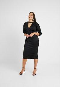 Glamorous Curve - BELTED DRESS - Pouzdrové šaty - black - 0