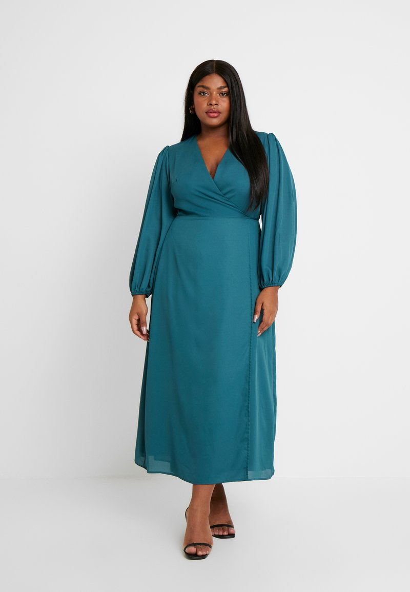 Glamorous Curve - LONG SLEEVE WRAP DRESS - Maxi dress - teal