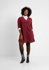 Glamorous Curve - BUTTON DOWN DRESS - Shirt dress - bordeaux - 1