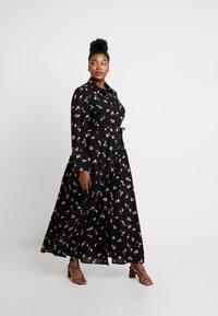 Glamorous Curve - SMUDGE PRINT DRESS - Maxi šaty - black/pink - 2