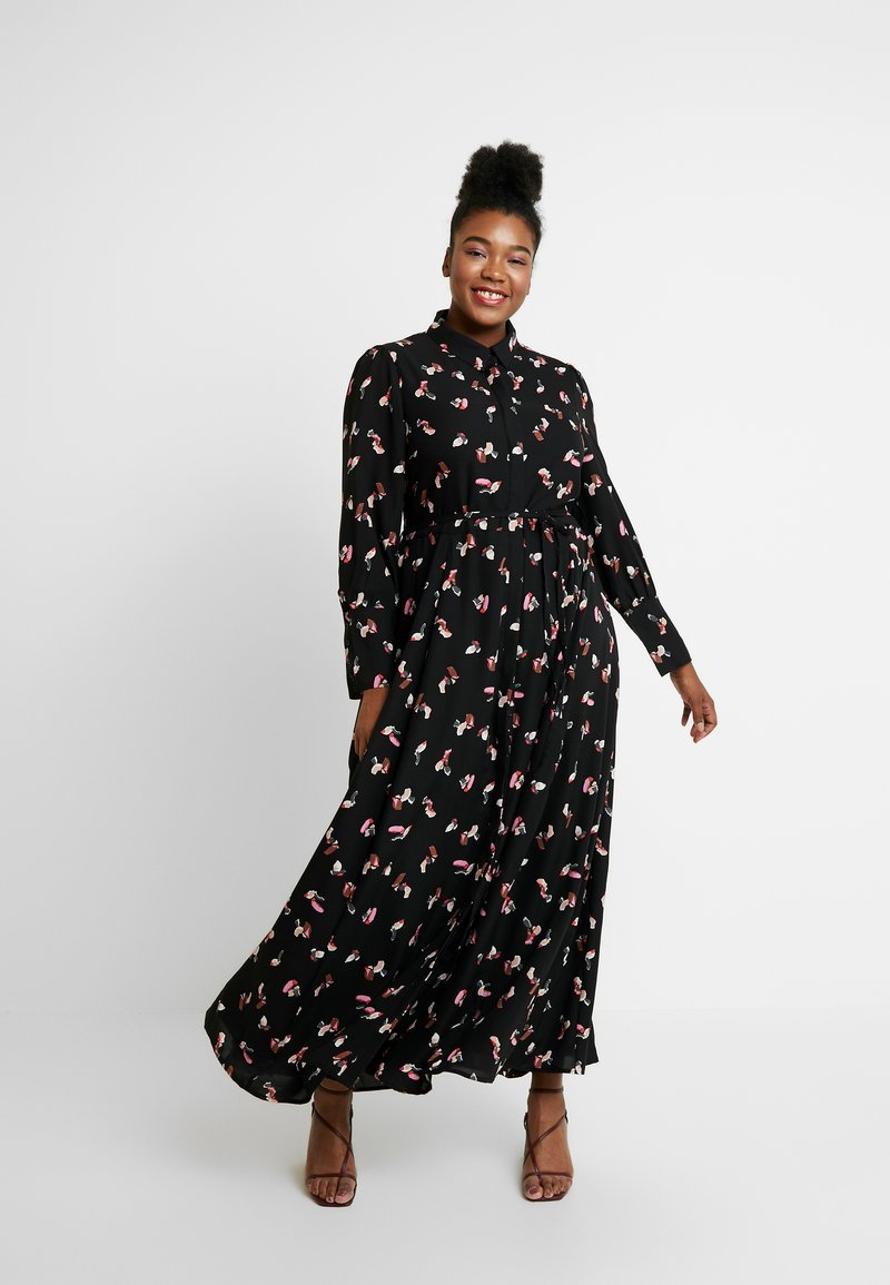 Glamorous Curve - SMUDGE PRINT DRESS - Maxi šaty - black/pink