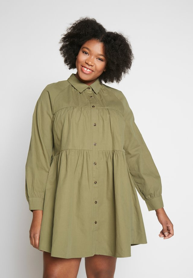 TIERED SHIRT DRESS - Shirt dress - khaki