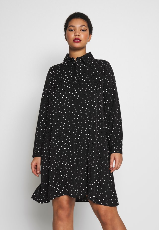 HEART PRINT DRESS - Shirt dress - black/white