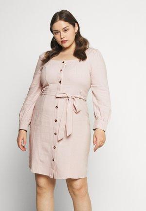 TIE WAIST SQUARE NECK DRESS - Shirt dress - pale almond