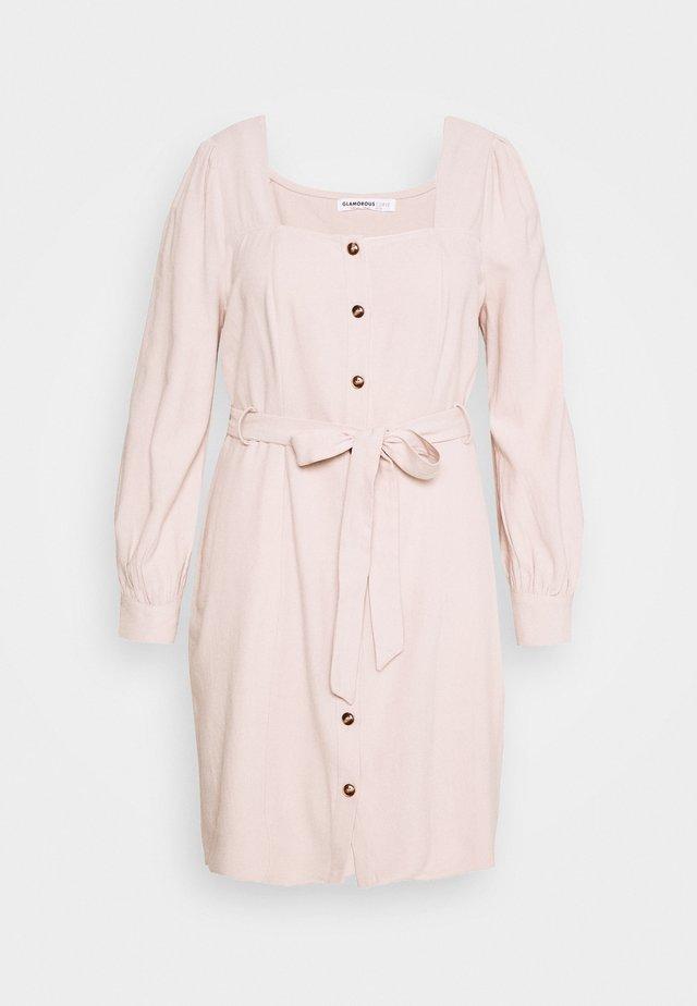 TIE WAIST SQUARE NECK DRESS - Hverdagskjoler - pale almond