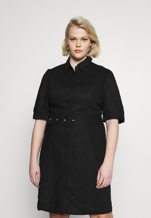 BLETED DRESS - Shirt dress - black
