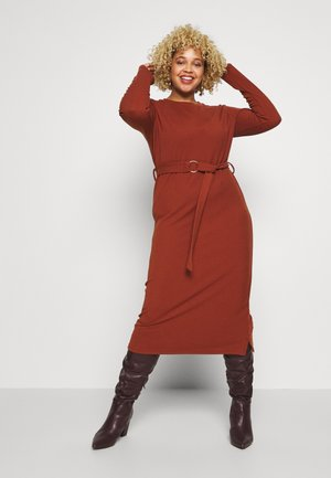 BELTED JUMPER DRESS - Day dress - rust