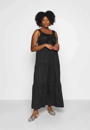 EYELET DETAIL MAXI DRESS - Maxi-jurk - black