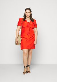 Glamorous Curve - TIE FRONT SHIFT DRESS - Day dress - red orange - 1