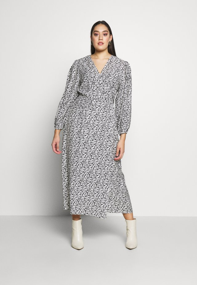 MIDI DRESS - Sukienka letnia - black white floral