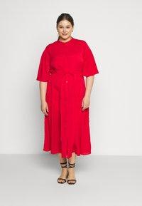 Glamorous Curve - TIE WAIST SHIRT DRESS - Shirt dress - coral red - 0