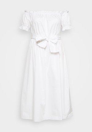 POPLIN TIE WAIST BARDOT - Day dress - white