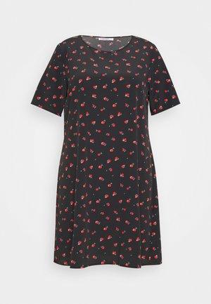 FLORAL SHIFT - Denní šaty - black