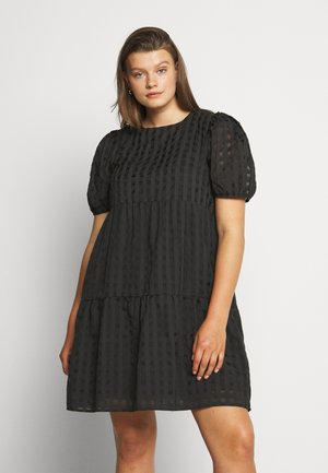TONAL CHECK TIERED DRESS - Korte jurk - black