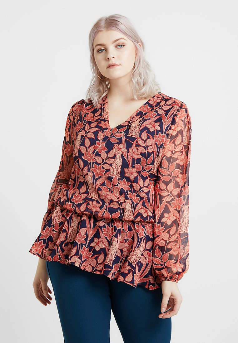 Glamorous Curve - EXCLUSIVE PEPLUM LONG SLEEVE BLOUSE - Blouse - navy/red