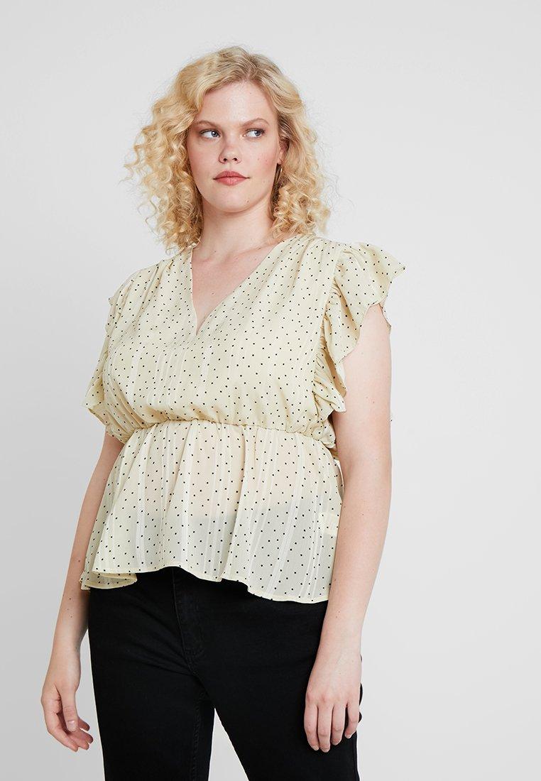 Glamorous Curve - V NECK FRILL BLOUSE - Bluse - cream/black