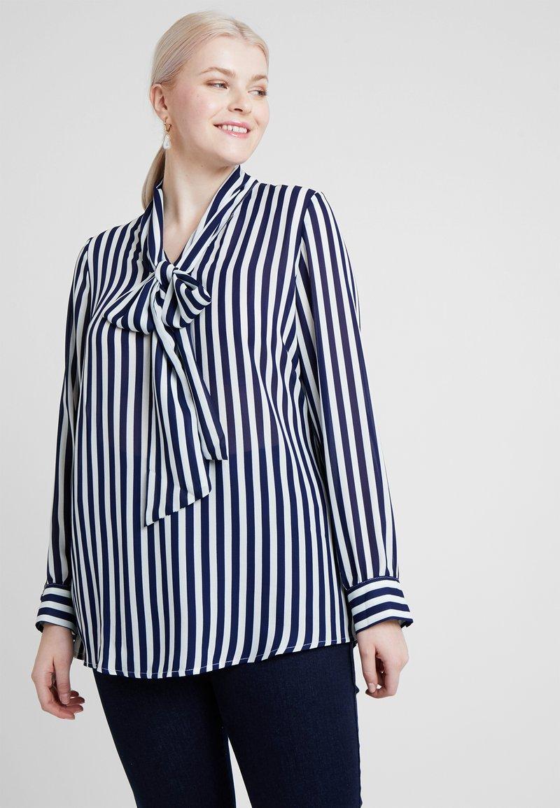 Glamorous Curve - PUSSYBOW  - Blouse - blue/white