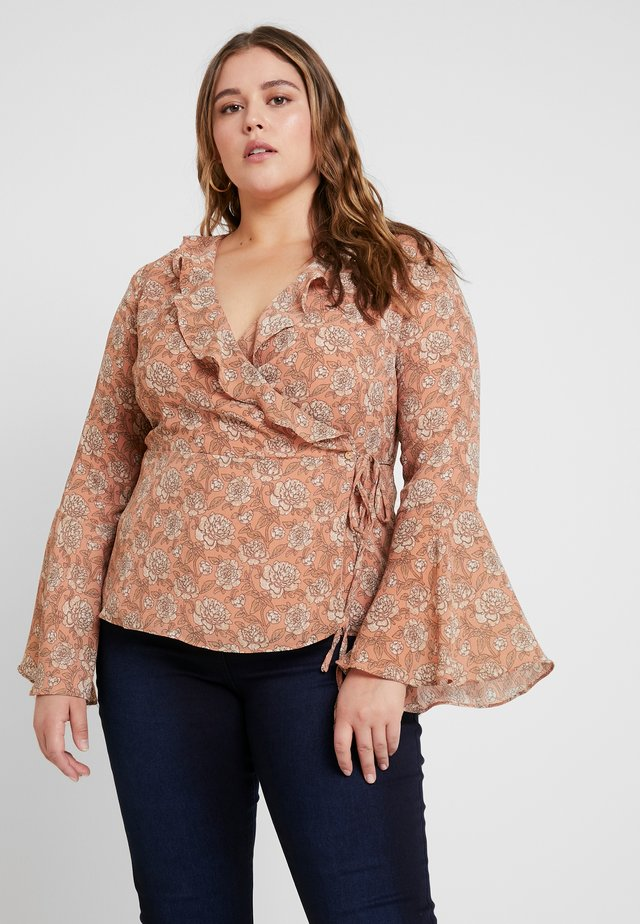RUFFLE WRAP BLOUSE WITH BELL SLEEVES - Blus - peach