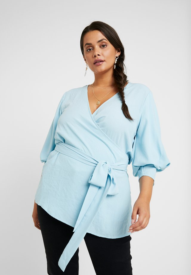 WRAP PUFFER SLEEVE BLOUSE - Blus - pastel blue