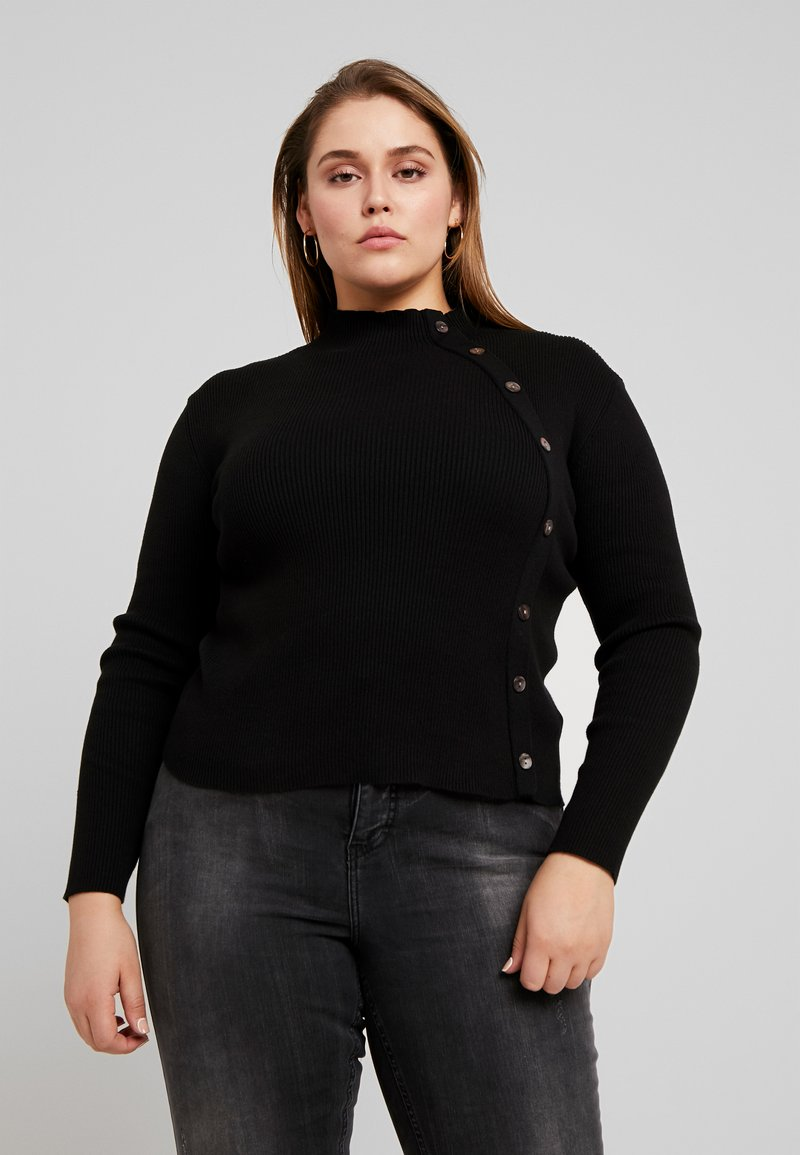 Glamorous Curve - POPPER DEATIL HIGH NECK - Strikkegenser - black