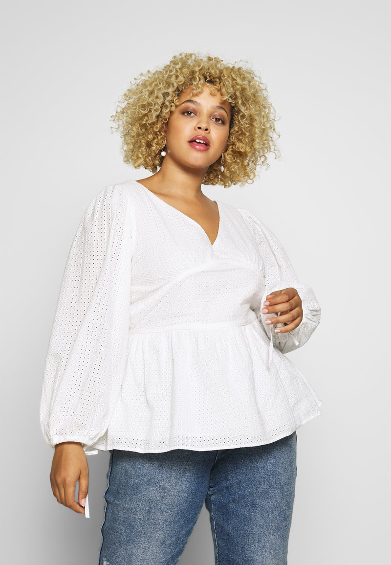 Glamorous Curve - LONG SLEEVE BRODERIE BLOUSE - Blouse - white