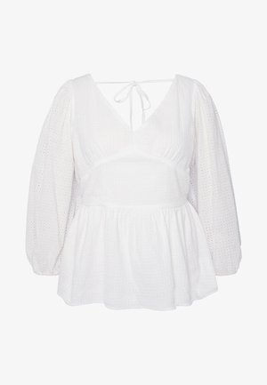 LONG SLEEVE BRODERIE BLOUSE - Pusero - white