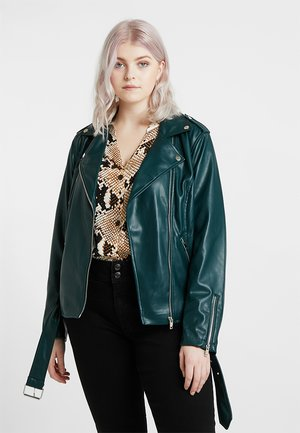 JACKET - Faux leather jacket - dark green