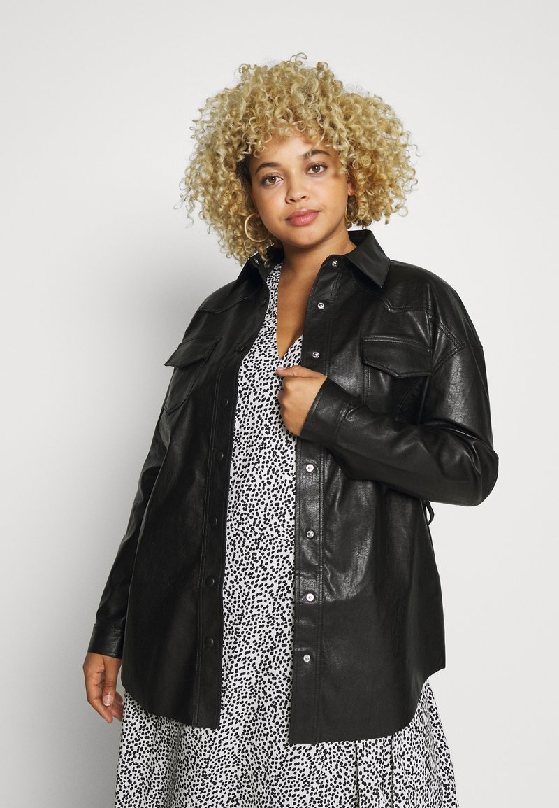 Glamorous Curve - SHIRT JACKETS - Faux leather jacket - black