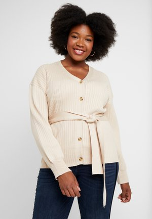 BELTED BUTTON FRONT CARDI - Cardigan - beige