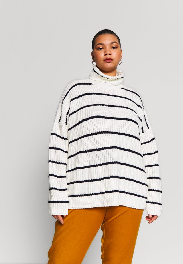 STRIPE ROLL NECK JUMPER - Jumper - white/black