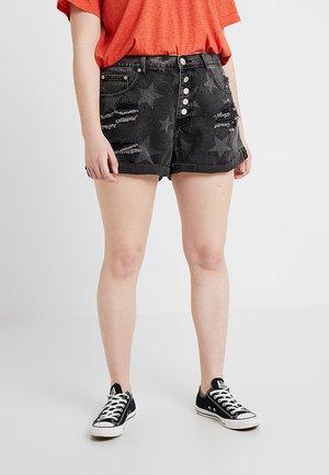 STAR  - Denim shorts - black denim with brighter stars