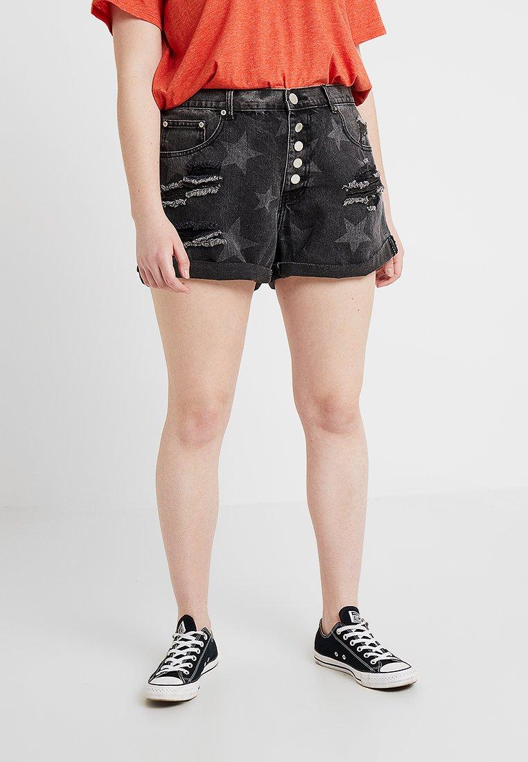 Glamorous Curve - STAR  - Jeans Short / cowboy shorts - black denim with brighter stars