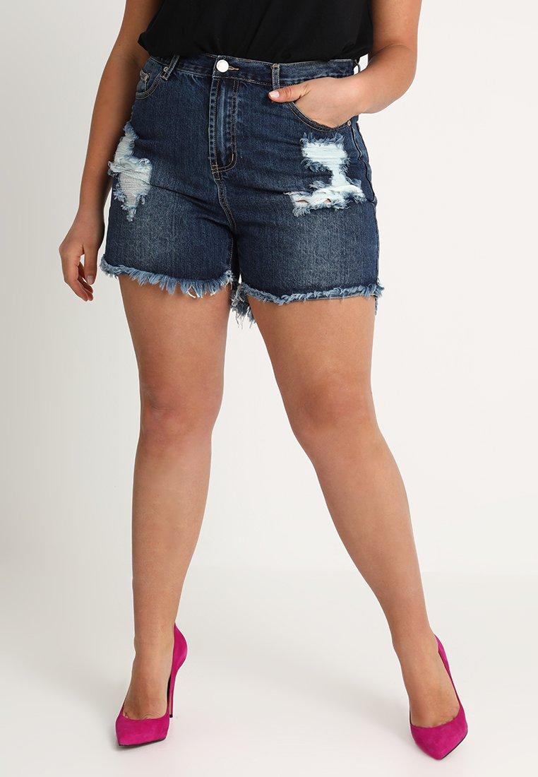 Glamorous Curve - ACID WASH  - Jeans Short / cowboy shorts - dark indigo