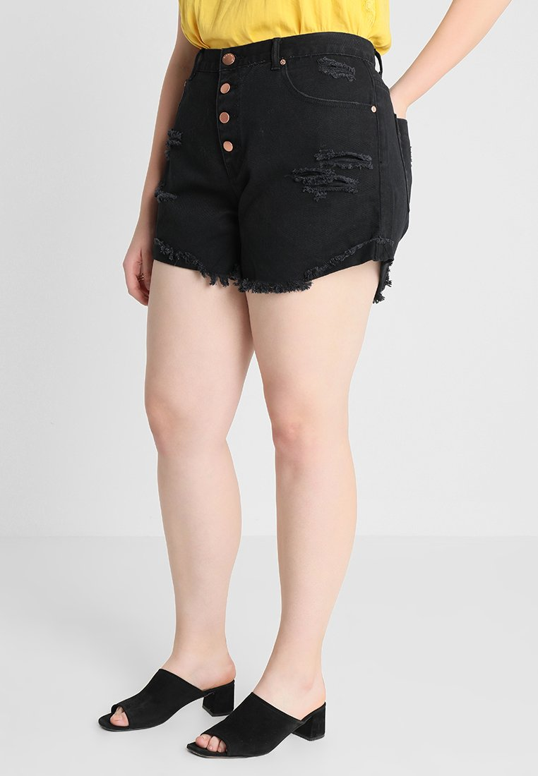 Glamorous Curve - GLAMOROUS CURVE - Jeans Shorts - black