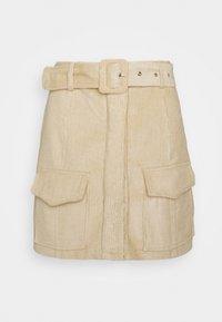 Glamorous Petite - BELTED MINI SKIRT WITH POCKET DETAIL - Blyantnederdel / pencil skirts - stone corduroy - 3