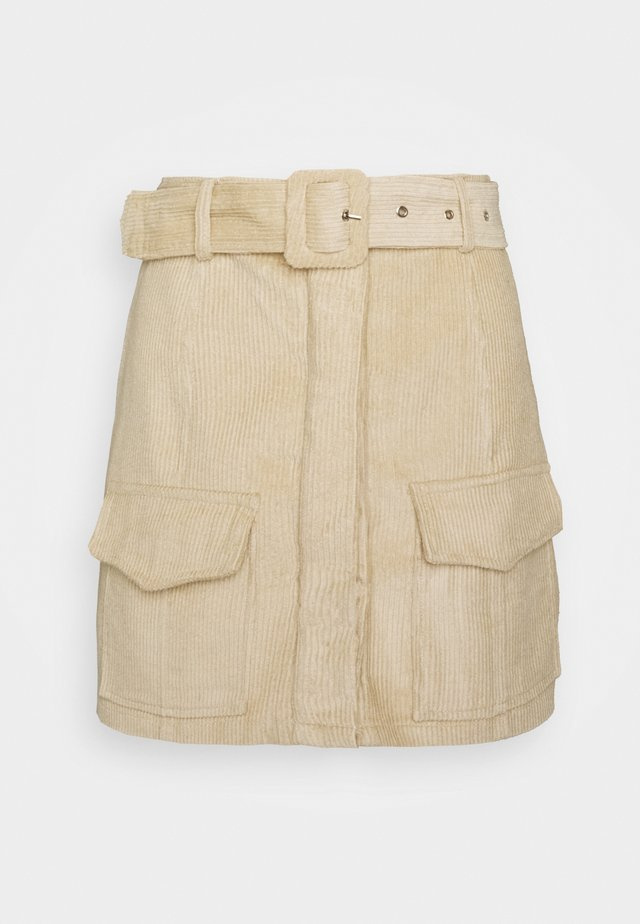 BELTED MINI SKIRT WITH POCKET DETAIL - Kynähame - stone corduroy
