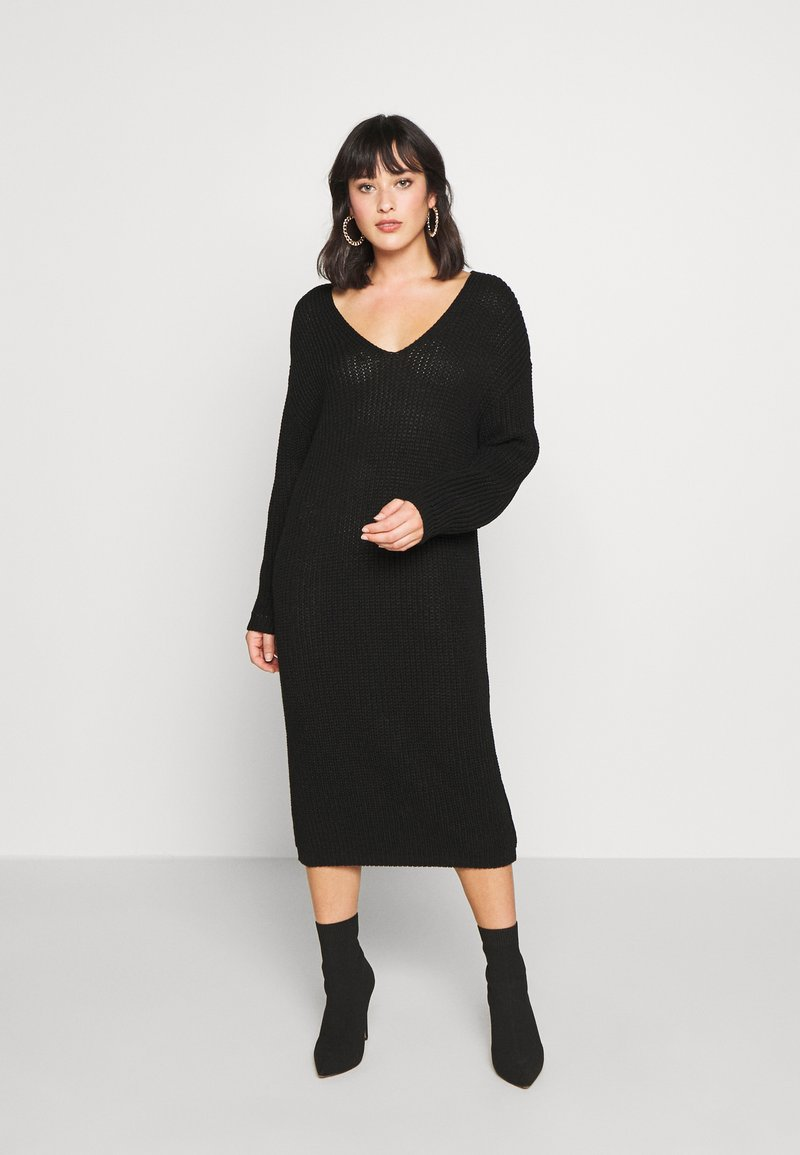 Glamorous Petite - V NECK DRESS - Gebreide jurk - black