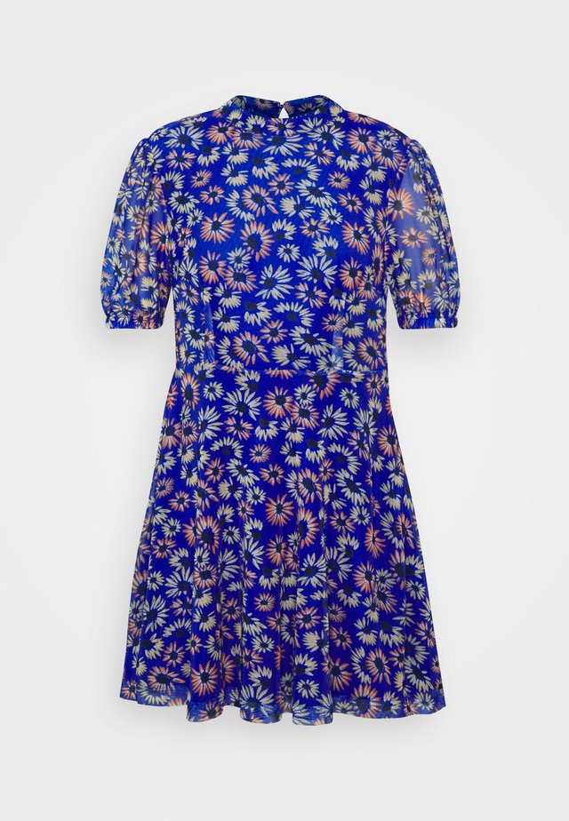 EXCLUSIVE PRINTED PUFF SLEEVE - Day dress - blue