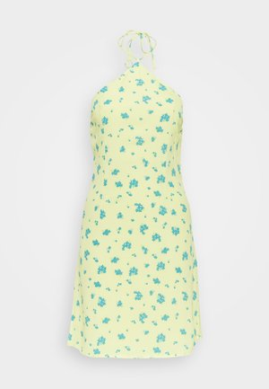 HALTERNECK PRINT MINI DRESS - Vapaa-ajan mekko - yellow