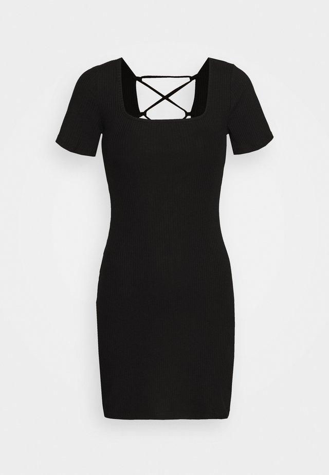 MINI DRESS WITH BACK DETAIL - Korte jurk - black