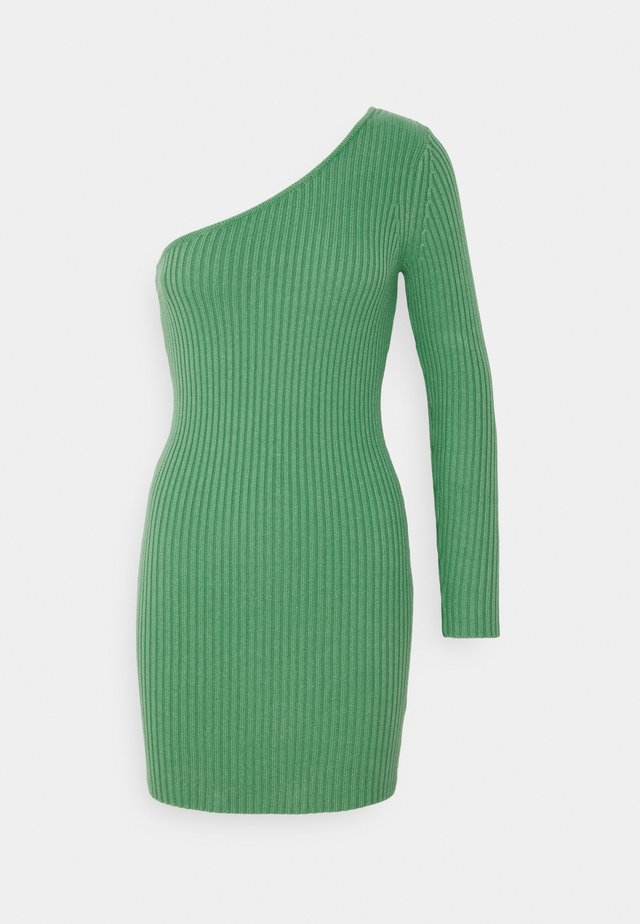ONE SHOULDER MINI DRESS - Gebreide jurk - green