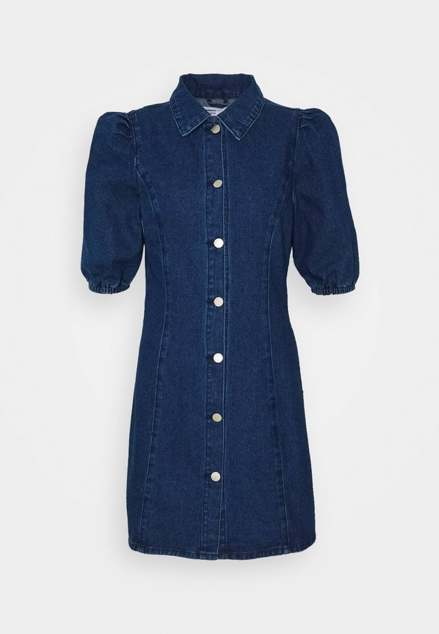 FITTED MINI DRESS WITH COLLAR AND PUFF 1/2 SLEEVES - Jeanskjole / cowboykjoler - dark wash
