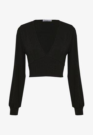 EXCLUSIVE LONGSLEEVE WRAP TOP PETITE - Langarmshirt - black