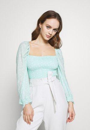 EXCLUSIVE SMOCKED - Topper langermet - mint