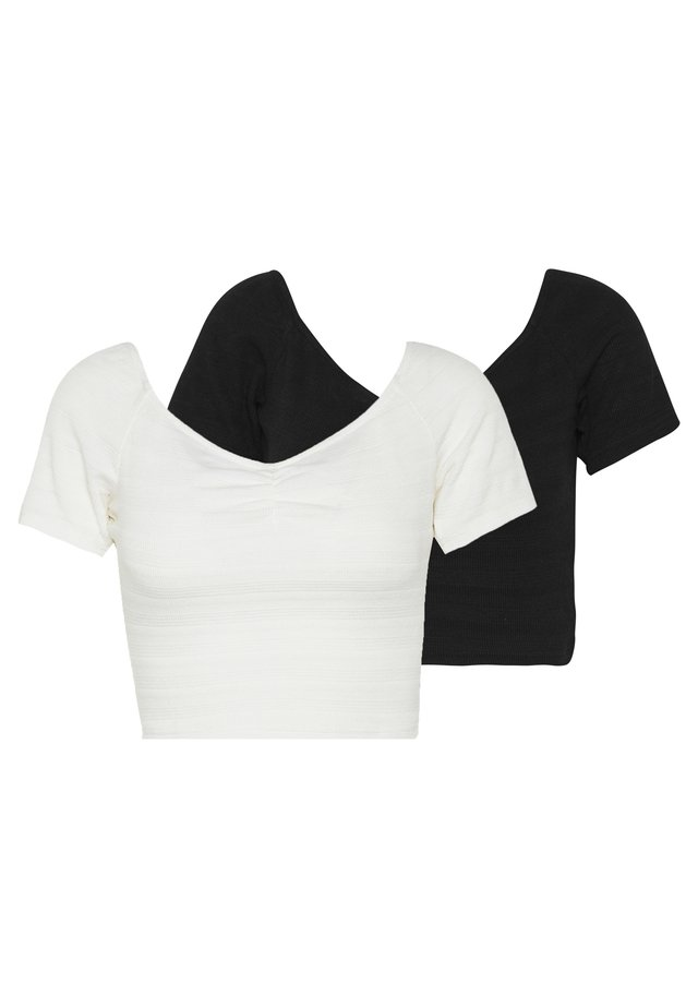 EXCLUSIVE POINTELLE 2 PACK - T-Shirt basic - black/white