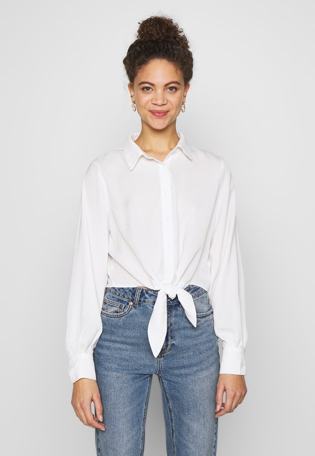 TIE FRONT BLOUSE - Button-down blouse - white